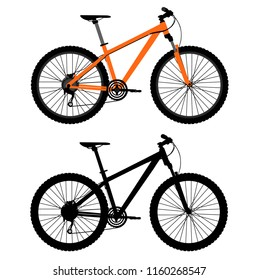 Pair of bicycles. Vector bicycle silhouette