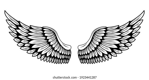 A pair of bird wings. Angel. Vector illustration for tattoo. Element for wood carving.