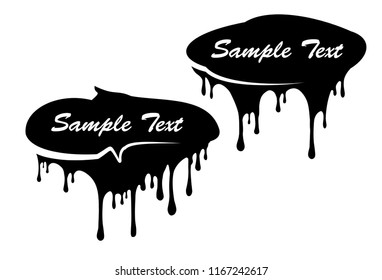 Pair of black paint drips decors with copy space for your text.