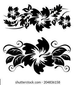 A pair of black and white hawaian hibiscus flowers