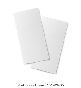 Pair of  blank bifold paper brochures on white background with soft shadows. Vector illustration.