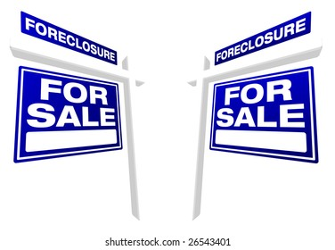 Pair of Blue Foreclosure For Sale Real Estate Signs In Perspective. Please see my variations on this theme - more vector Real Estate signs.