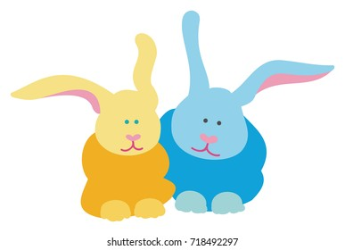 A Pair of Blue and Gold Bunny Rabbits