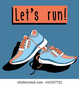 Pair of blue-orange sneakers. Vector illustration on blue background. Let's run!
