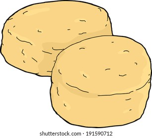 Pair of bread biscuits on white background