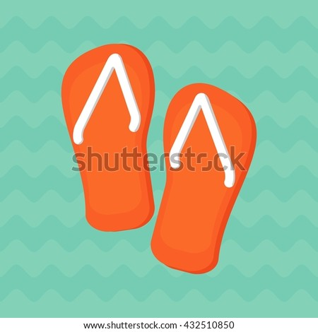 ed8395afb49d Pair of bright orange flip-flops on a blue background of ocean waves.  Objects isolated on background. Flat and cartoon vector illustration. -  Vector