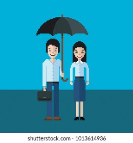Pair of businessmen - man and woman standing under an umbrella, video pixel art game style illustration