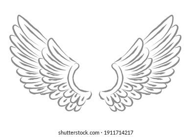 Pair of cartoon drawing wings vector drawing illustration