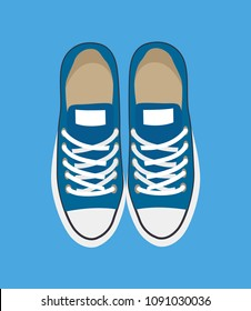 Pair of casual sneakers isolated on blue backdrop vector illustration, new footwear with white decorative elements and cords, modern shoes pattern