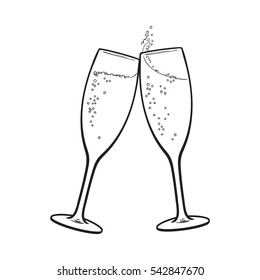 Champagne Glasses Sketch Stock Illustrations, Images ...