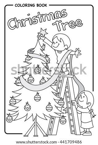 Pair Children Decorating Christmas Tree Using Stock Vector Royalty