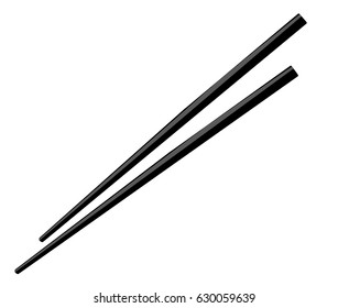 A pair of chopsticks on white background, vector illustration