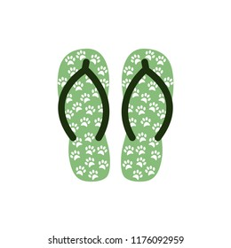 f37972c8714 Pair of Colorful flip flops with animal paws .Beach slippers.Vector icon  isolated on