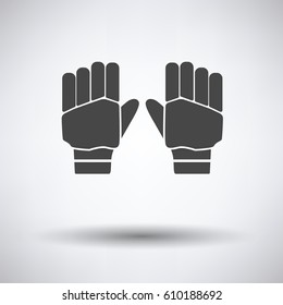 Pair of cricket gloves icon on gray background, round shadow. Vector illustration.