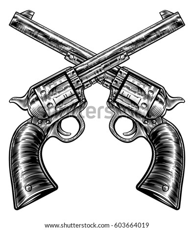 Pair Crossed Gun Revolver Handgun Six Stock Vector Royalty Free
