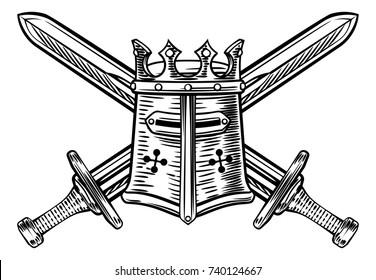 A pair of crossed medieval swords and Templar or knights great helm helmet