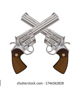 A pair of crossed pistol guns in a vintage etched engraved style, vector illustrations of retro weapons. Vector pictures set. Revolver gun and weapon pistol classic cowboy
