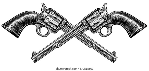 A pair of crossed pistol guns in a vintage etched engraved style