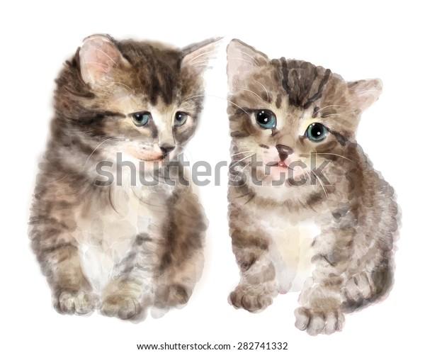 Paar Susse Flauschige Katzchen Nachahmung Der Stock Vektorgrafik