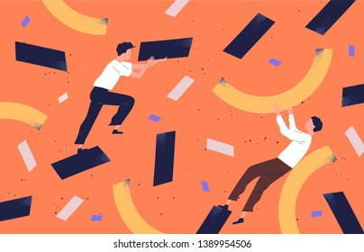 Pair of cute funny men collecting scattered abstract geometric shapes and organizing them. People holding rectangles and curves. Colorful vector illustration in contemporary flat cartoon style.