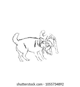 The Pair of Cute Shaggy Dogs on White Background. Vector Illustration of a Beautiful Sketched Siberian Husky. Freehand Monochrome Drawing. Linear Sketch. Realistic Style. Animal Art for Kids