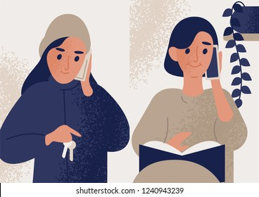 Pair of cute smiling women talking on mobile phone. Female characters communicating through smartphone. Telephone conversation or dialog between mother and daughter. Flat modern vector illustration.