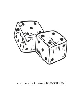 Pair of dice lying with four and five on top side drawn with black contour lines on white background. Throwable gambling device for tabletop games. Monochrome vector illustration in engraving style