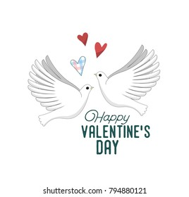 A Pair of Enamored Pigeons And Hearts Over Them. Vector Illustration For Valentine's Day