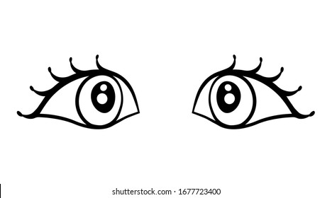 Pair of eyes with an attentive look. Complement with faces of people, birds and animals, etc. Fantastic clipart for t-shirt, pillow, card, package.