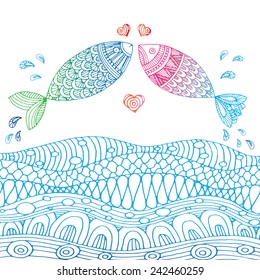 Pair of fish in love above the sea