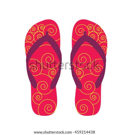 1db82c665573 pair flip flops for Summer with beautiful waves texture illustration  isolated in a white background - Vector