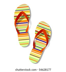Pair of flip flops. Vector.