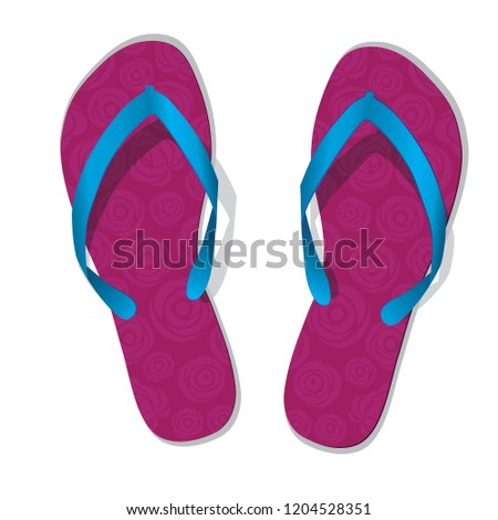 08be42d9af30 Pair of flip flops. Vector slippers with flower. Pink beach shoes icon with roses  isolated on white. - Vector