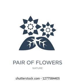 pair of flowers icon vector on white background, pair of flowers trendy filled icons from Nature collection, pair of flowers vector illustration
