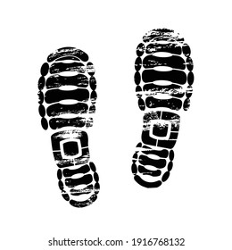 Pair footprints human shoes silhouette. Shoe soles print. Vector footstep icon, isolated footstamp on white background