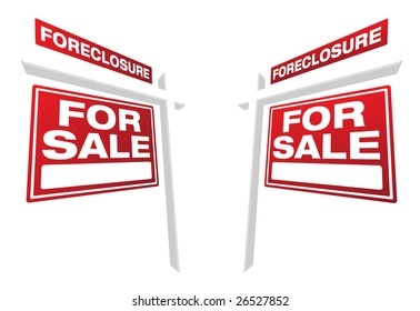 Pair of Foreclosure For Sale Real Estate Signs In Perspective. Please see my variations on this theme - more vector Real Estate signs.