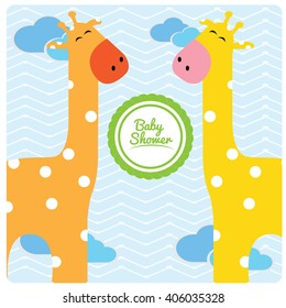 Pair of giraffes on a colored background with a sticker with text