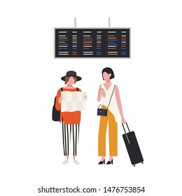 Pair of girls with map and suitcase waiting at airport terminal. Young female tourists with luggage. Travellers with baggage are going on summer vacation or trip. Flat cartoon vector illustration.