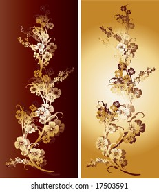 Pair of golden and dark red flowers with intricate ornaments and arabesques