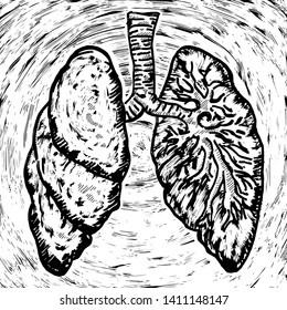 A pair of grungy human lung. Hand drawn vector illustration.