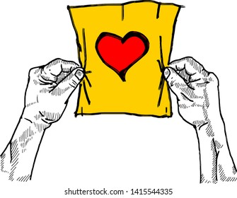 A pair of hand holding up a piece of paper with a heart symbol for the concept of Love Letter. Hand drawn vector illustration.