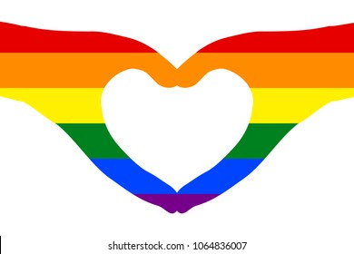 Pair of hands in heart shape painted with rainbow colors of LGBT or GLBT flag, the symbol of lesbian, gay, bisexual, transgender, and queer (LGBTQ); white (transparent) background. Vector illustration
