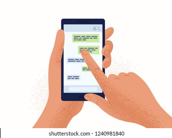 Pair of hands holding smartphone or mobile phone with chat or messenger application on screen. Instant messaging and chatting, online communication. Colorful vector illustration in flat cartoon style.
