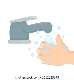 Pair of hands washing using soap and bubbles.Handwashing. Clean arm in foam bubbles. Vector flat cartoon illustration icon design. Personal hygiene,disinfection,skin care concept. Isolated on white