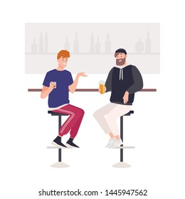 Pair of happy friends sitting on stools at bar counter and drinking beer or alcoholic beverages. Two cute funny smiling young men in pub. Friendly meeting. Flat cartoon colorful vector illustration.