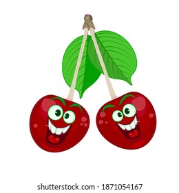 Pair of happy smiling cherries isolated on white background. Cute comic couple red cherry with green leaves. Cartoon fruits with funny face. Cheerful mascot with big eyes. Stock vector illustration