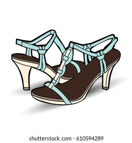 pair of high heel shoes. fashion. fashionable shoe vector illustration
