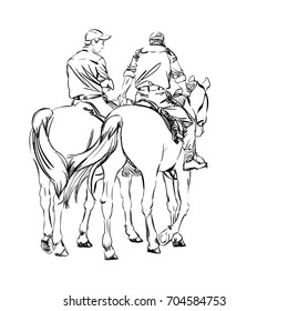 A Pair of Horsemen and Horses. Two Rangers. Freehand Monochrome Drawing of Animal and People. Linear Graphic. Realistic Pen Drawing Imitation. Vector Illustration. Mounted Constabulary. Animal Art