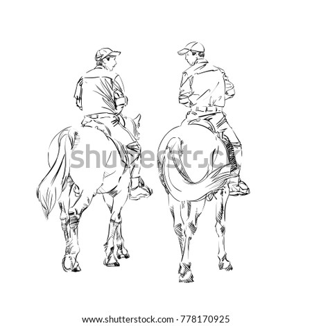 pair horsemen horses two rangers freehand stock vector royalty free Map Of Mt Elbrus freehand monochrome drawing of animal and people linear graphic realistic pen drawing imitation vector illustration mounted constabulary