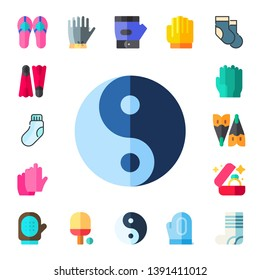 pair icon set. 17 flat pair icons.  Collection Of - sandals, flippers, sock, yin yang, gloves, flipper, wedding ring, glove, ping pong, socks